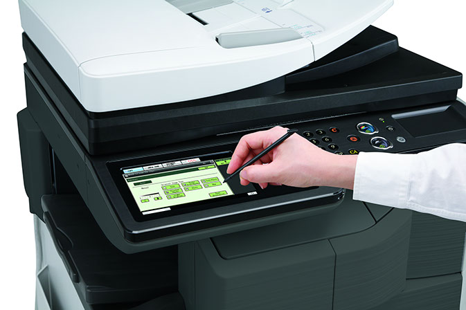 Try out Sharp's large touch screen display copier line.  Wholesale prices!
